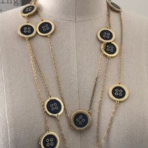 Lilly Pulitzer Button Necklace Navy Blue/Gold